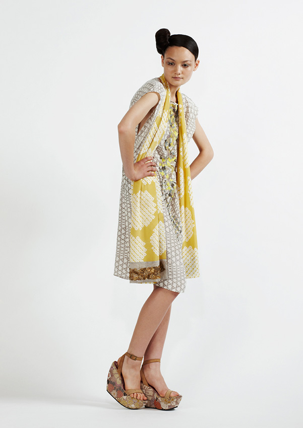 160/S91318 Printed Rectangle Dress with Sequins    125/S97358 Shibori and Embroidered Scarf