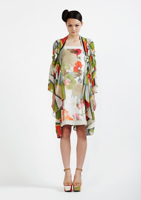 110B/S91335B Floral Sequin Strap Dress    175/S99060 Spiral Shibori Printed Kimono Coat