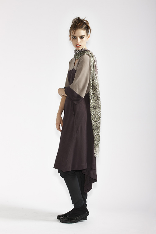 145/A91365 V-Neck Wrap Dress    215/A97370 Printed Cashmere Shawl    210/A9686T Tulle Leggings