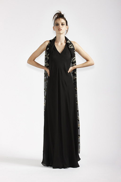 125/A91368 Long Bias Dress    125/A7368 Beaded Wrap