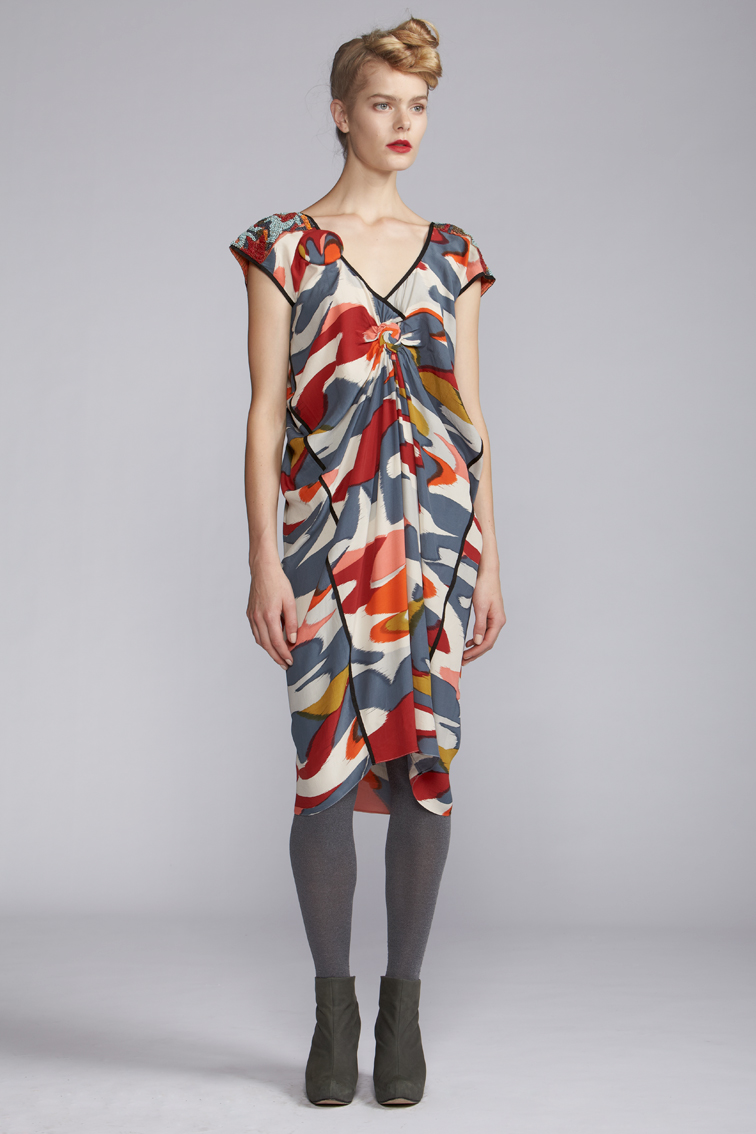 220/A120112 Spiral Shibori Draped Dress