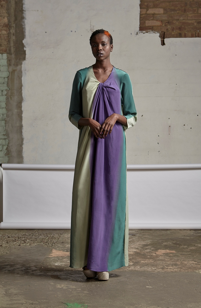 125/S151562 Long Sleeve Maxi Dress with Twist Neck with Tie