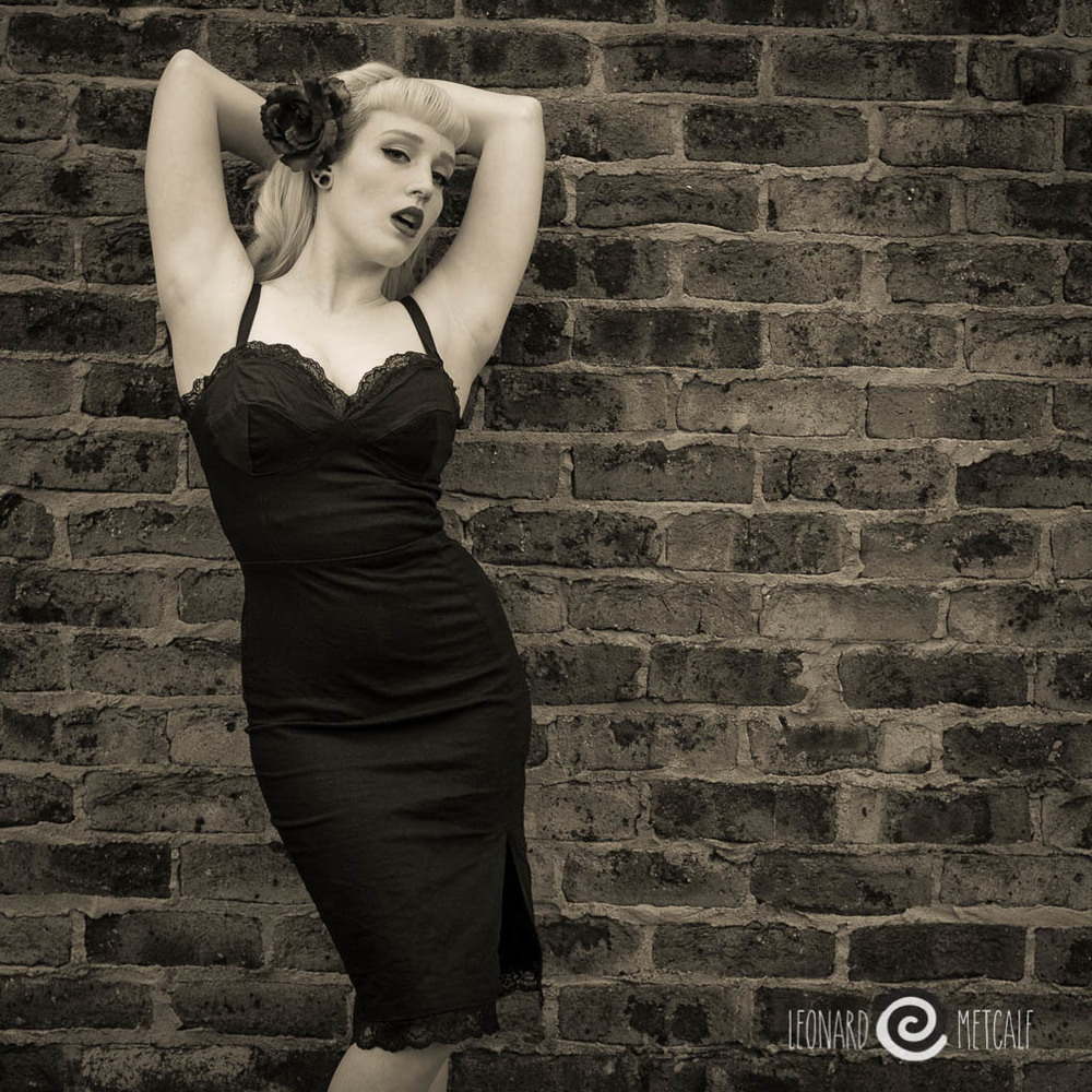 Lady Medusa poses against an historic wall in Windsor during a Len's School shoot. © Leonard Metcalf 2013