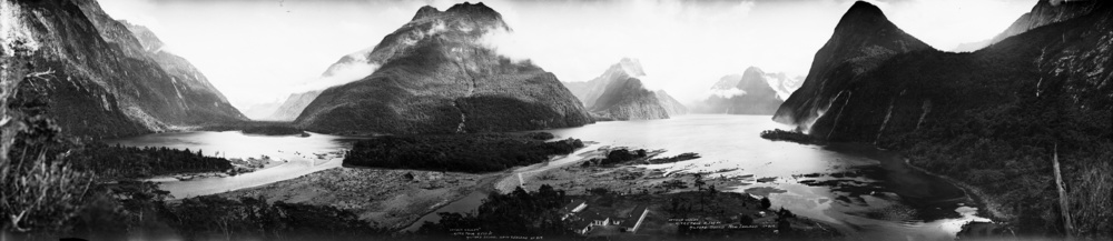 Arthur River, Mitre Peak and Milford Sound, 1923-1928, Photographer: Robert Percy Moore, Photographic Archive, Alexander Turnbull Library, National Library of New Zealand