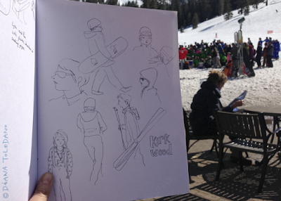 Skiers at Kirkwood, pencil sketches by Diana Toledano