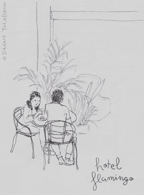 Travel sketchbook: a couple having breakfast in Cozumel