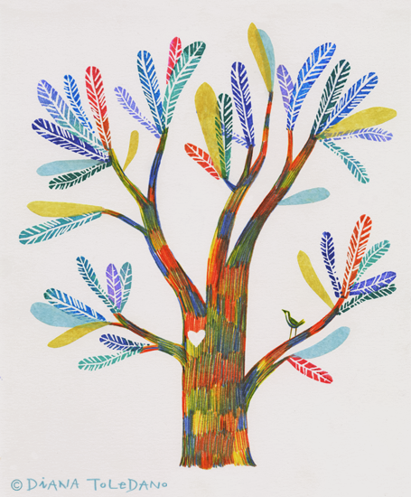 Colorful Tree Illustration for the Saharawi People by Diana Toledano
