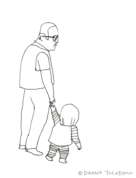 Sketch of a San Francisco grandpa with his grandkid by Diana Toledano