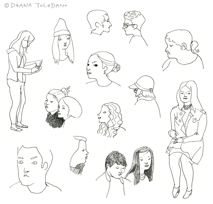 Sketches of San Francisco people by Diana Toledano