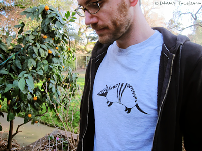 Armadillo T-shirt printed with stencils by Diana Toledano