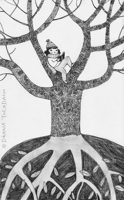 girl sitting on a tree branch reading by Diana Toledano