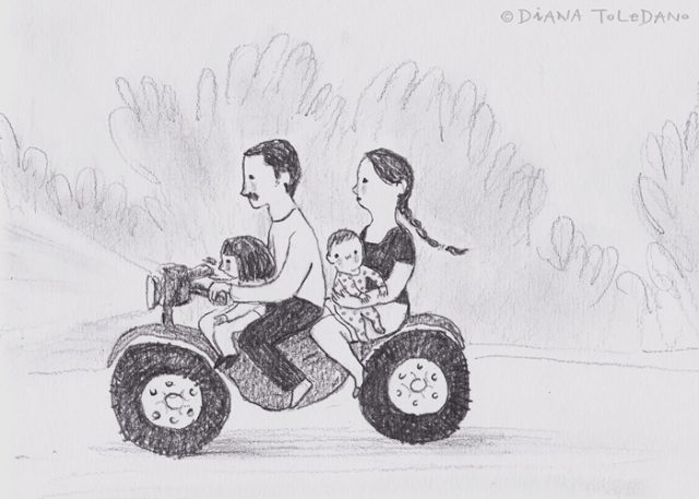 """Family ridding a bike in Mexico"", sketch by the illustrator Diana Toledano"
