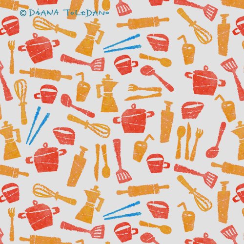 Handmade Kitchen Pattern in Orange by Diana Toledano