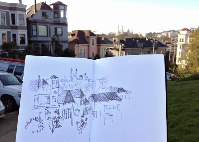 Diana Toledano sketching in the city. Pencil sketch of Buena Vista Park in San Francisco