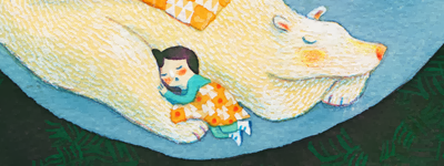 painting of a little girl sleeping with a bear
