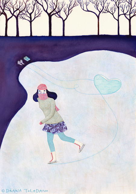 Illustration of a girl skating inspired by a song