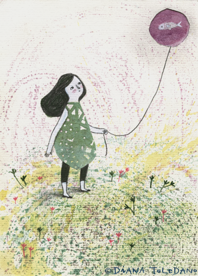 postcard of girl with fish in a balloon by diana toledano
