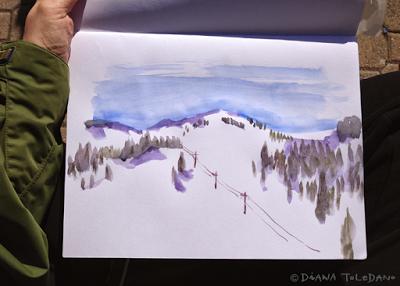 Lake Tahoe, Watercolor Sketch by Diana Toledano