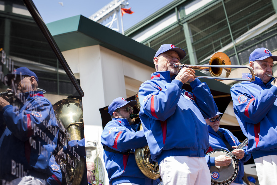 The Cubs Dixieland Band plays before the game. They've been performing at Wrigley Field for 33 years.