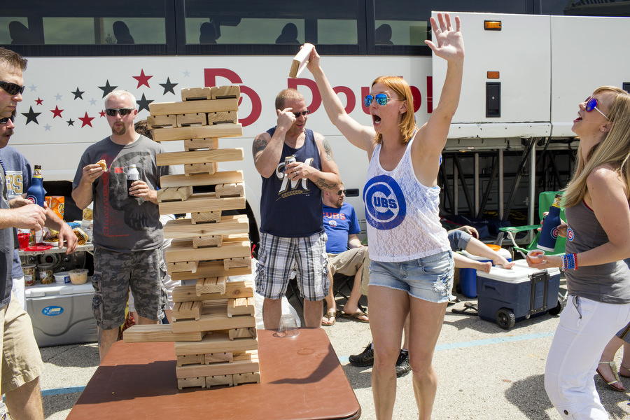 Brittany Zimmerman reacts after successfully extracting a Jenga piece.