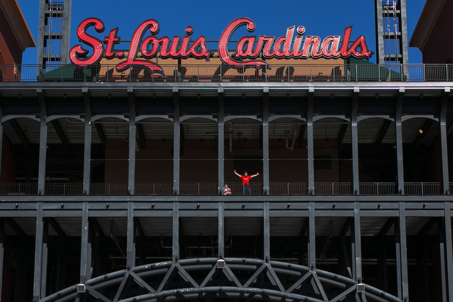 The western entrance of Busch Stadium.
