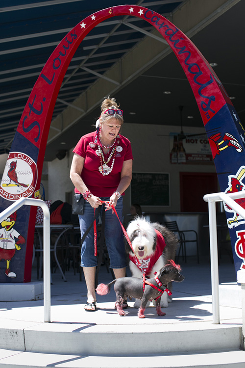 Chris Nickolay brought her dogs Jackson and Rock Star to the game for Pooches in the Ballpark.