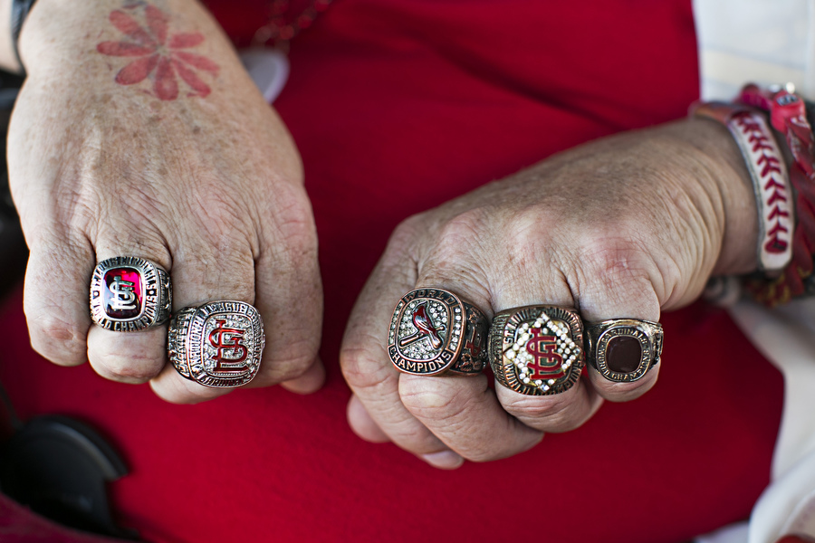 "Tom Hirstein, known by his friends as ""Cardinal Tom,"" has a robust collection of replica Cardinals rings and has been attending games since the late 1960s."