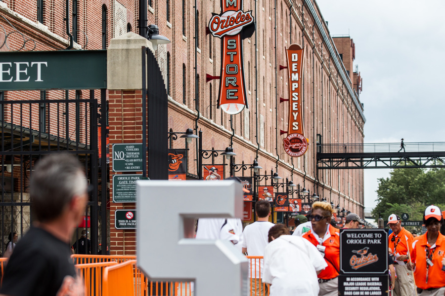 Fans enter on Eutaw street before the game.