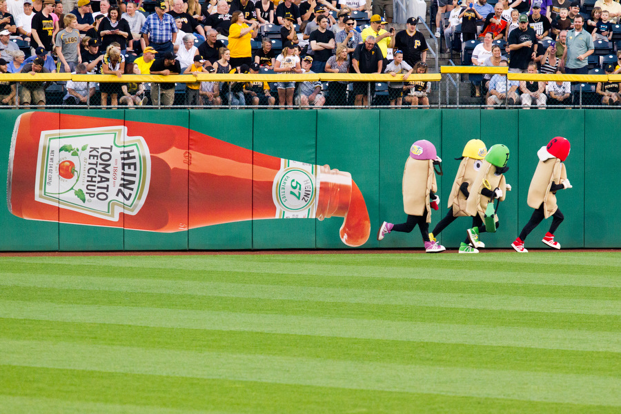 The Pirates Pierogies race at the end of the 5th inning.