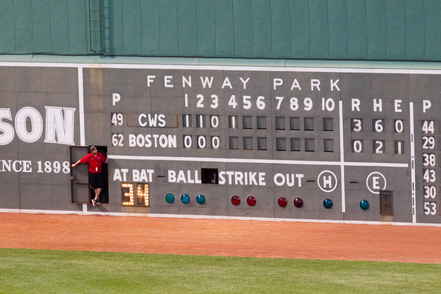 The scoreboard is run manually. During innings, Red Sox employees come out to change the numbers.