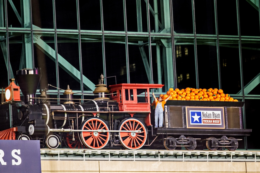 A train conductor encourages the fans to get loud and support the Astros in the ninth inning. The conductor drives the train on a track from center field to left field whenever an Astros player hits a home run and whenever the Astros win. The train is an homage to Houston's historical importance as a train transportation hub in the 19th and early 20th centuries.