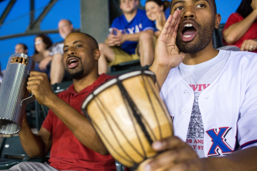 Alejandro plays la guira and Misael plays el tambor at the game, They said the culture of playing music in support of a team is much more common at baseball stadiums in other countries but they want to encourage the practice in the U.S.