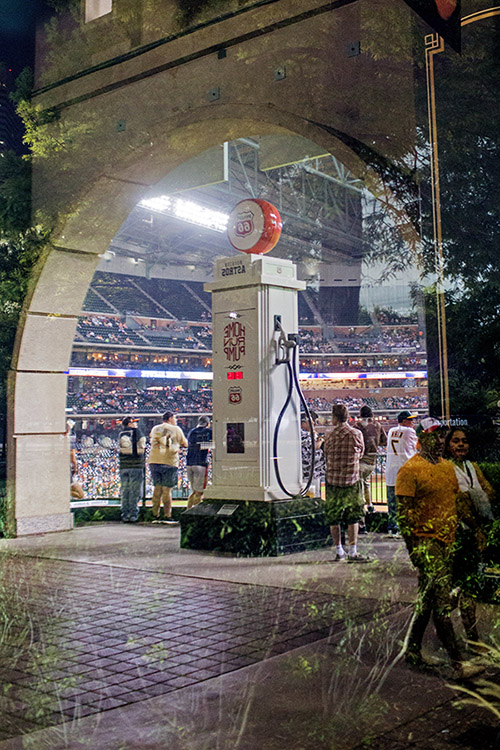 An old-school Route 66 gas pump in the left-centerfield concourse keeps track of all Astros home runs hit at Minute Maid Park.