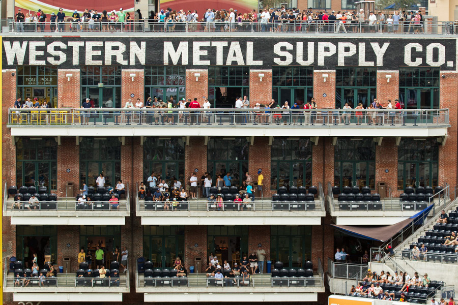 The Western Metal Supply Company was built in 1909 as a warehouse for manufactured metal goods. Declared a historic landmark, the building was incorporated into the rest of the stadium design. The majority of the brick, wood and foundation remain intact and one corner of the building is now the left field foul pole.
