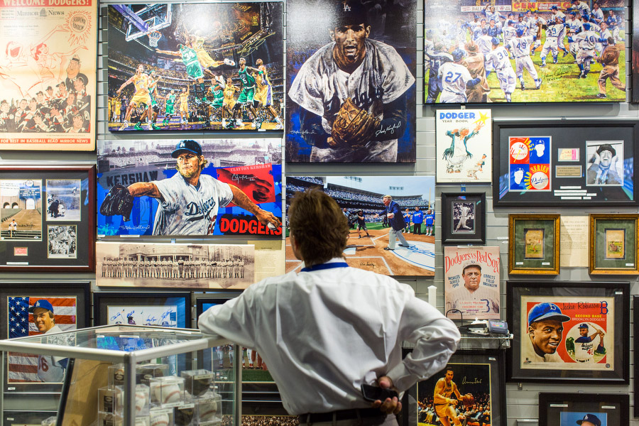 A memorabilia shop inside the stadium features items from multiple Los Angeles sports teams.