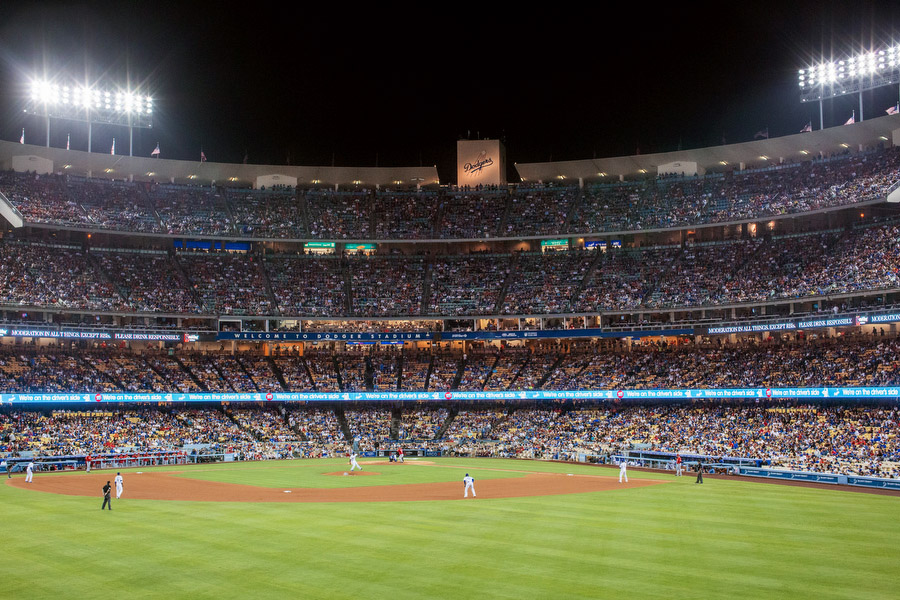 Dodger stadium has the highest capacity of any MLB stadium.