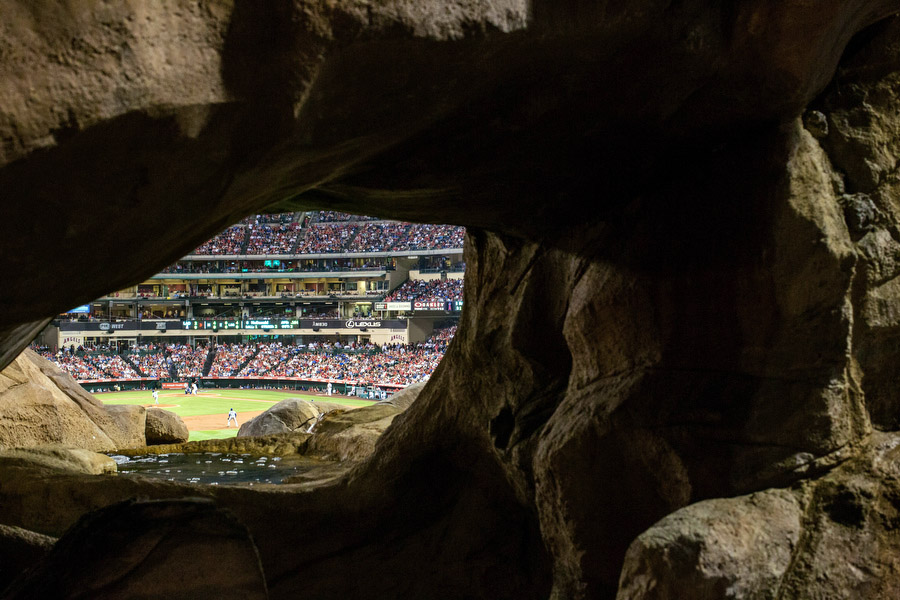 "Beyond the left-centerfield wall is the ""Outfield Extravaganza,"" which contains a rock formation similar to those found on some California beaches."