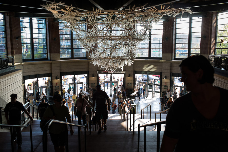 A 1000-bat chandelier hangs from the ceiling just inside of the southwest entry gate.