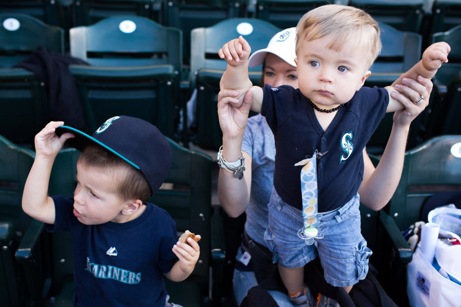 Stefanie took Jackson, left, and Eli to their first Mariners game.