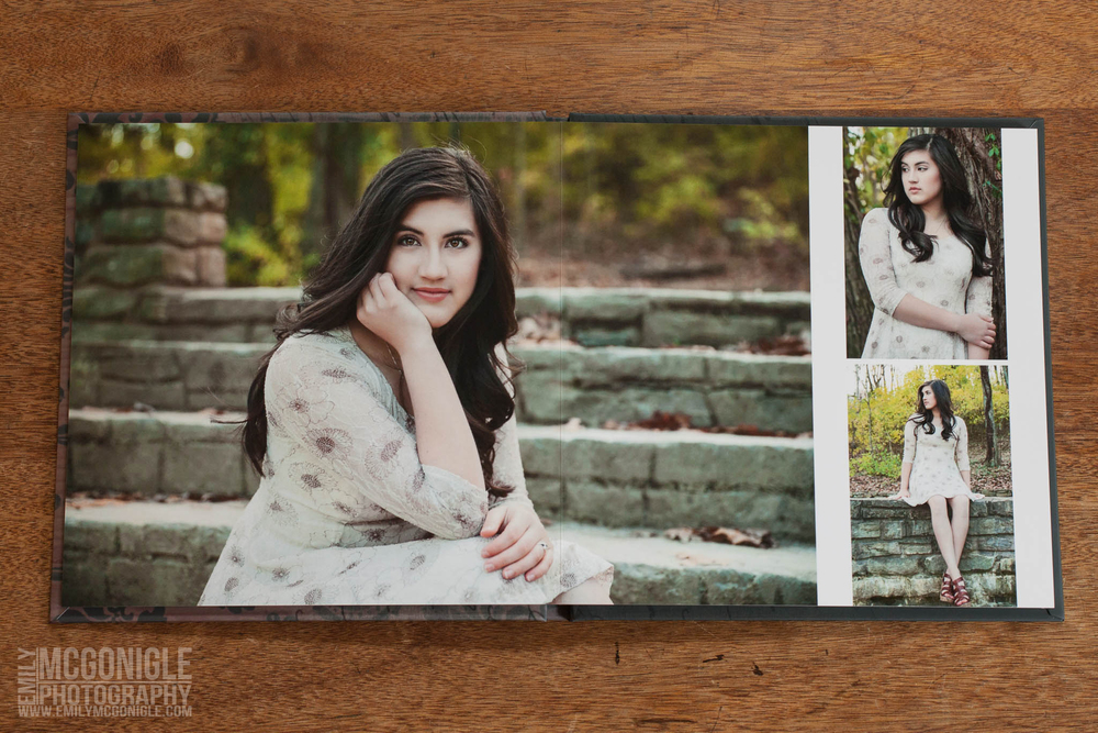 A spread sample from a senior portrait album