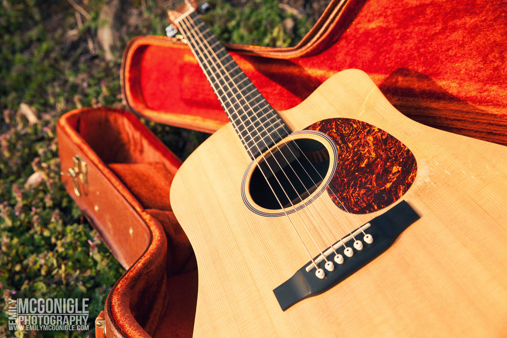 acoustic guitar in red case on grass