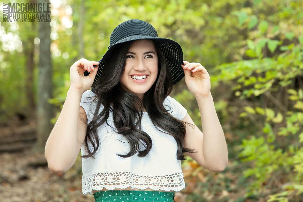 Fashion senior portrait with a hat