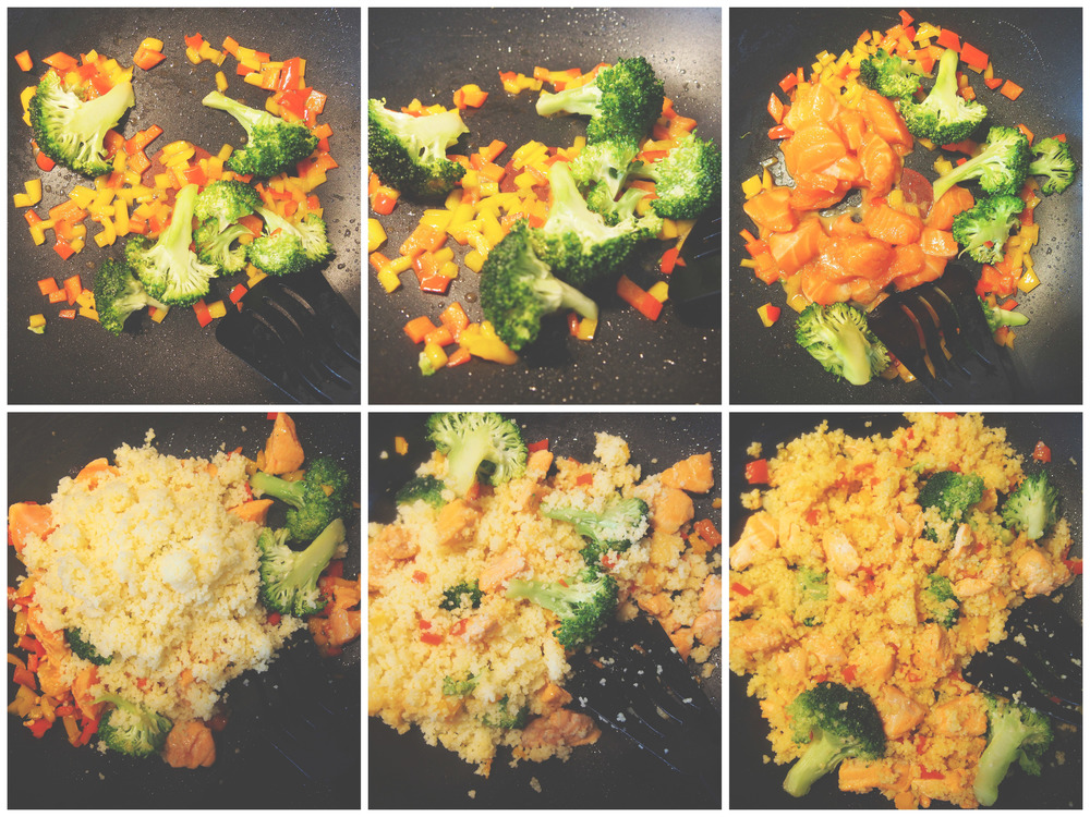 Pan fry diced bell peppers & broccoli. (Psst, I love the vibrant colours in real food) Throw in salmon in cubes, marinated in soya sauce. Then throw in your fluffed up couscous, mixed and fry them all together.
