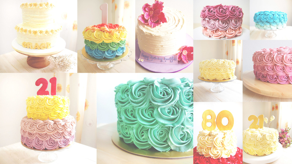Portfolio of my rosette buttercream cakes. People who have worked with buttercream will know its never easy working with them, especially when you're working with different colours. No baker will ever tell you they enjoy doing a rainbow cake/ design under huge production work, (means many many many rainbow cakes & designs) unless they're lying.