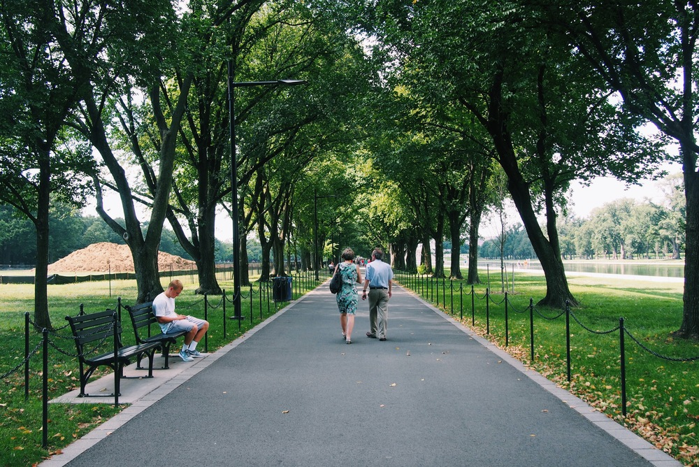Park route beside the Reflecting Pool.