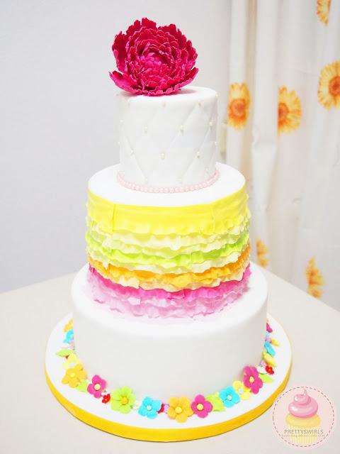 2013. First floral wedding cake. SO nerve-wrecking!