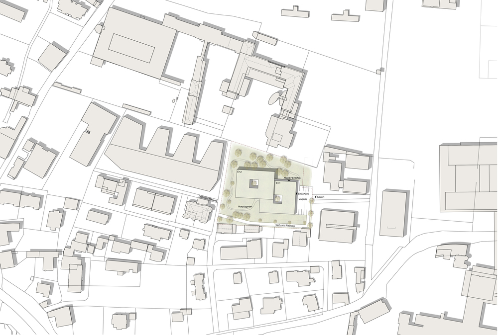 Hospizhaus Hall Lageplan