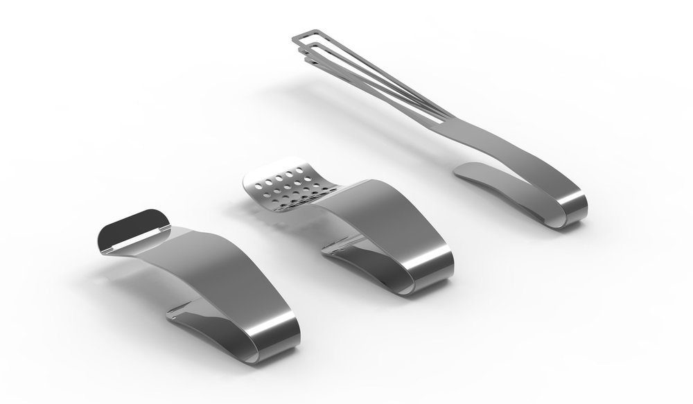This same concept was also applied to other kitchen tools, including a grater and whisk.Both of these tools also have the challenge of being hard to clean due to their complex shapes, so I decided to apply the same changes to the design. -