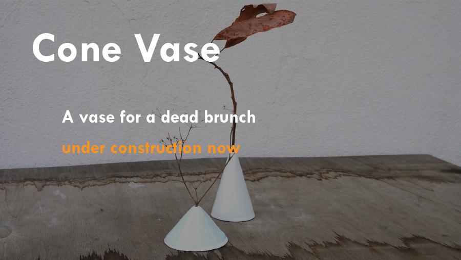 Cone vase  :  Under construction   A vase for a dead branch.