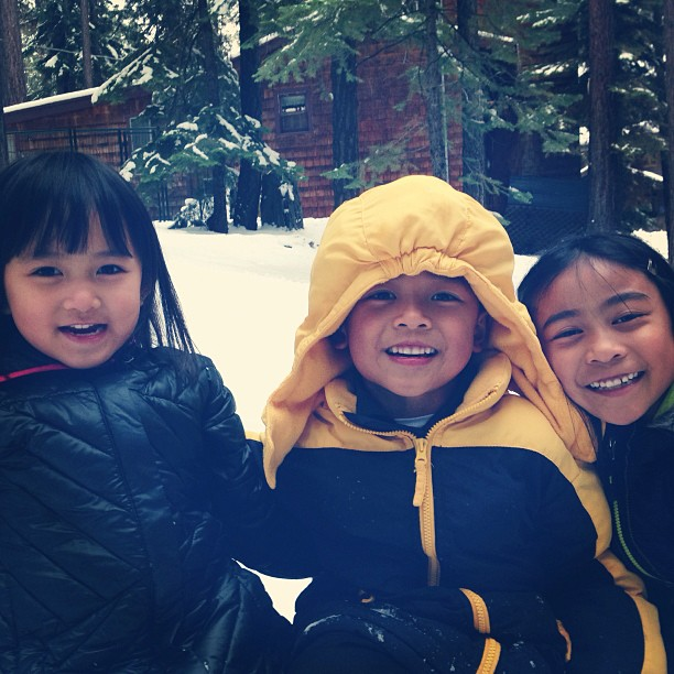 Hanging out with your cousins in Tahoe.  I had such a great time watching you play in the snow… never seen you so happy.